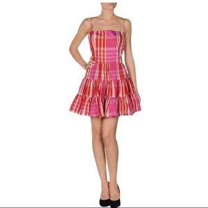 Plaid Taffeta Ruffle Dress-RED VALENTINO